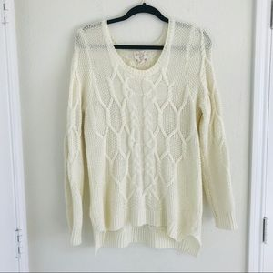 Hippie Rose cable knit cream sweater
